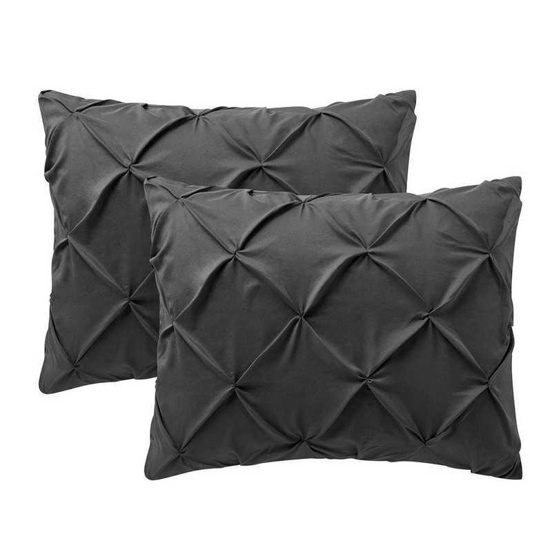 PIN-SSHAM-GRG: Granite Gray Pin Tuck Standard College Pillow Shams (2-Pack)