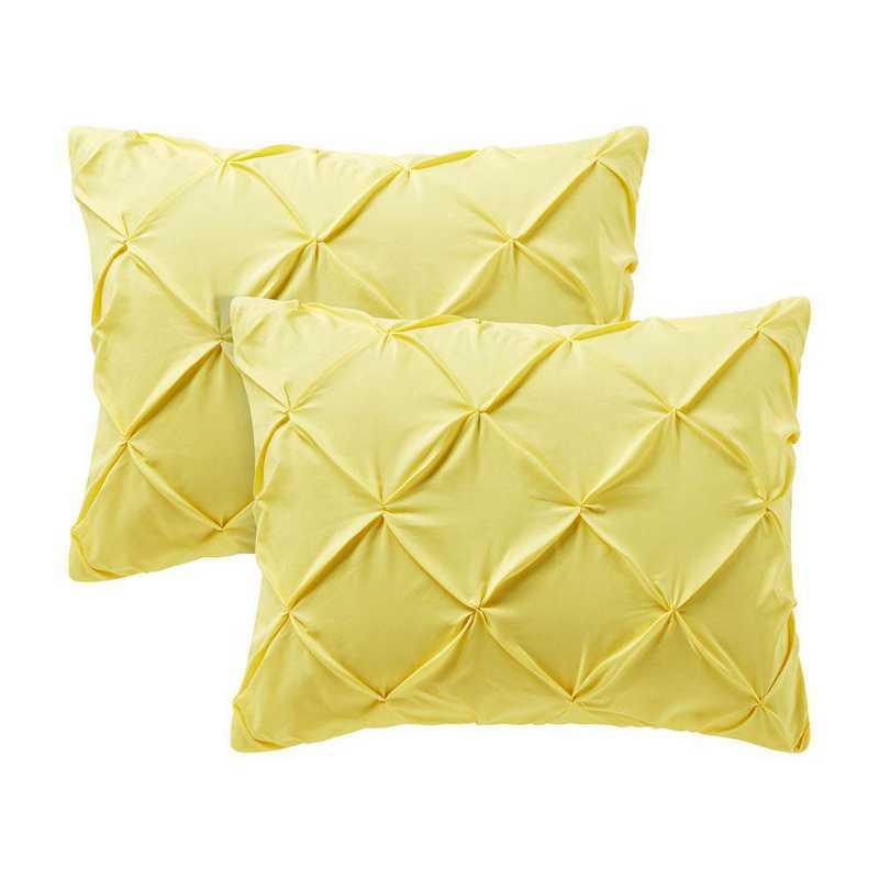 PIN-SSHAM-LY: Limelight Yellow Pin Tuck Standard College Pillow Shams 2Pk