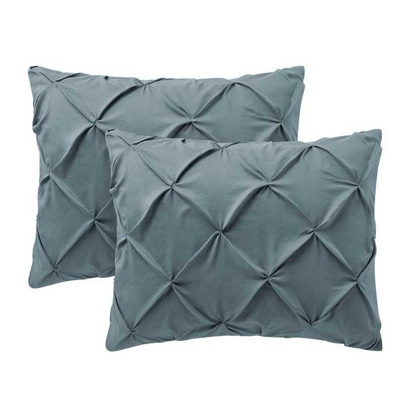 PIN-SSHAM-SMKBL: Smoke Blue Pin Tuck Standard College Pillow Shams (2-Pack)