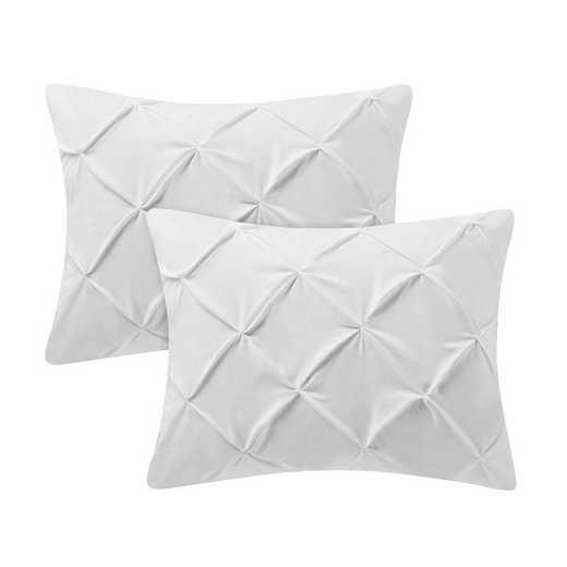 PIN-SSHAM-WHT: White Pin Tuck Standard College Pillow Shams (2-Pack)