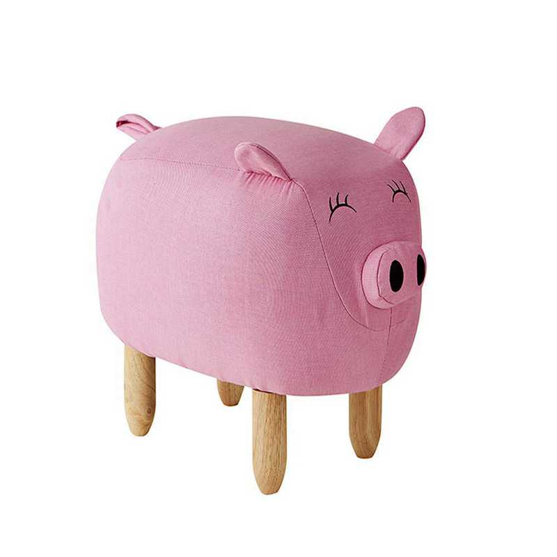 EK-PIG608L-PK: Claire - Pink Big Pig - Dorm Room Seating Stool