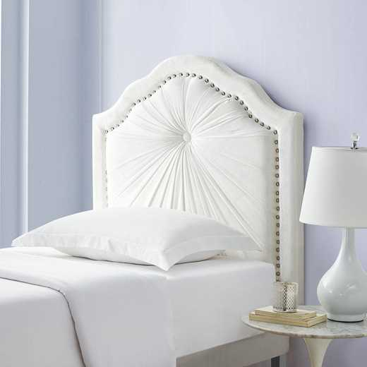 810T-PPD-WHT: Plush Pleated Double Bevel College Dorm Headboard - White