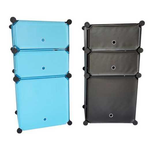 SNAPSHNIGHT-LKL55-BLK: DormCo Snap Cubes - 3-Tier Dorm Nightstand - Black
