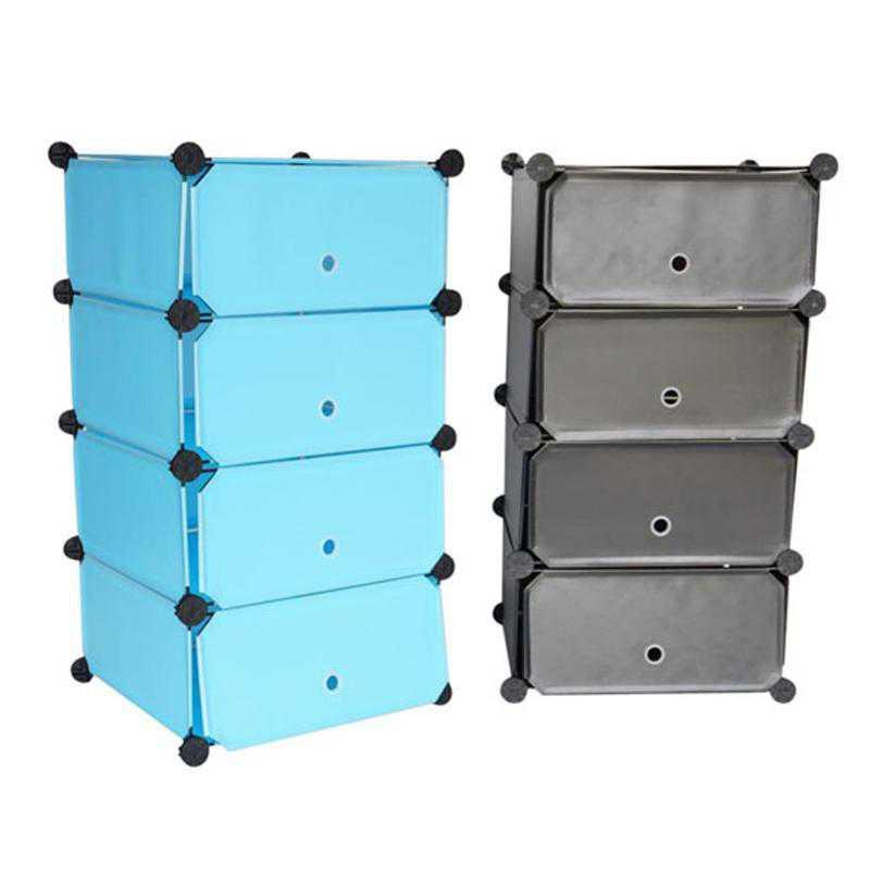 SNAPSHDRESSER-LKL516-2-BLK: DormCo Snap Cubes - College Dorm Storage 4Tier W/Doors Black