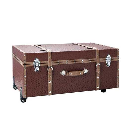BUCK2-E-11124SR: The Sorority College Dorm Trunk - Saddle Red Ostrich