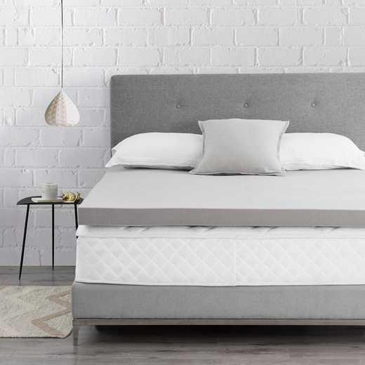 "BYB-T05: 3"" Memory Foam Twin XL Bedding Topper - Nighttime Gray"