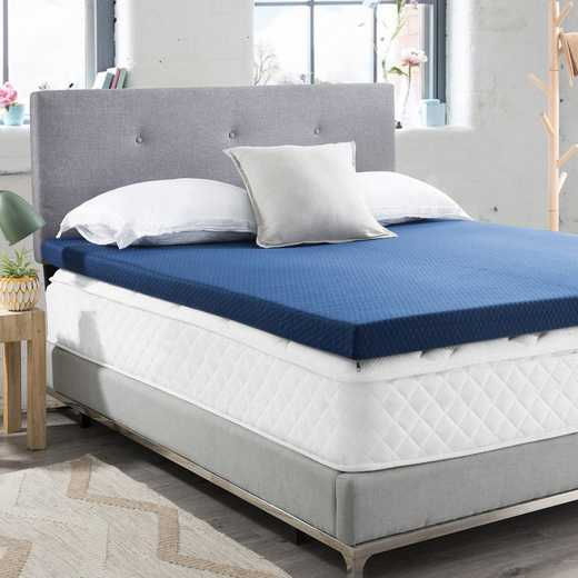 """BYB-T05-C: Spoon Me - Coma Inducer - 3"""" Memory Foam Twin XL Bedding Topper with Cover - Nighttime Gray"""