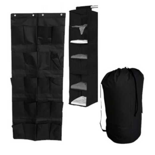 TUSK3P-BLACK: DormCo TUSK® 3-Piece College Storage Closet Pack - Black