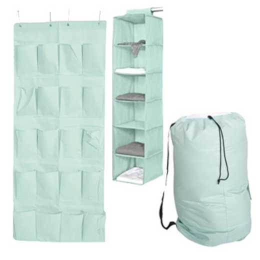 TUSK3P-MINT: DormCo TUSK® 3-Piece College Storage Closet Pack -Calm Mint