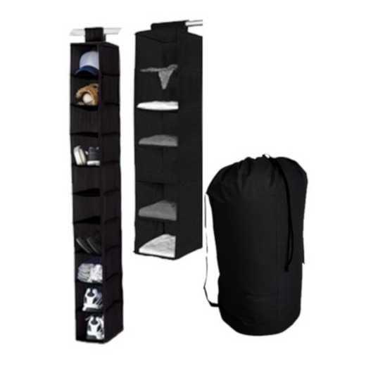 TUSK3-BLK: DormCo TUSK® 3-Piece College Storage Closet Set - Black