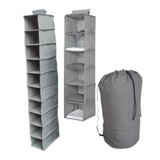 TUSK3-GRAY: DormCo TUSK® 3-Piece College Storage Closet Set - Gray