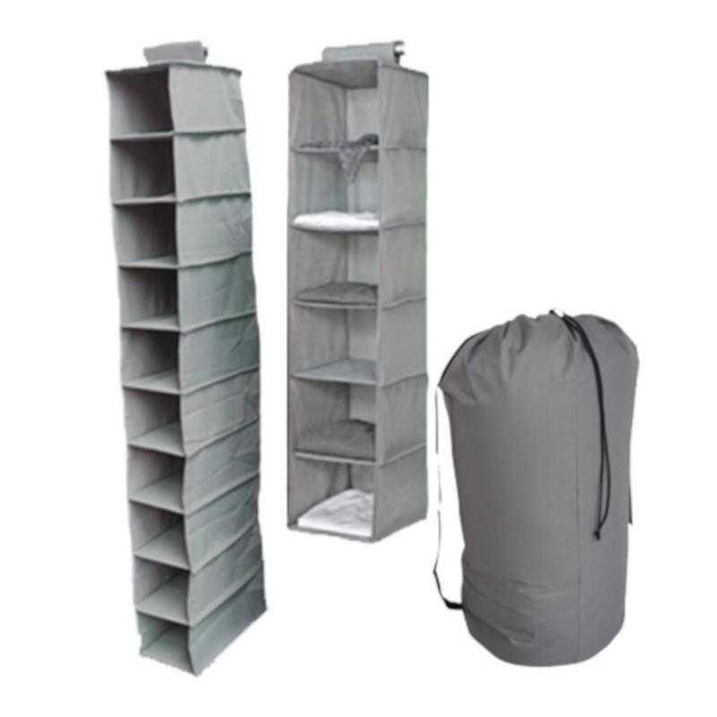 TUSK3-GRAY: DormCo TUSK® 3-Piece College Storage Closet Set - Gray