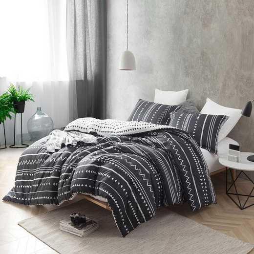434-COMF-TXL: DormCo Trinity - Faded Black/White - Twin XL Dorm Comforter