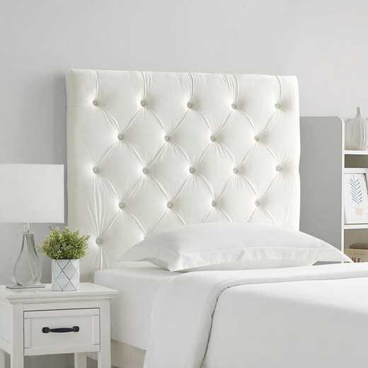 66T6-TUFT-WHT: Tufted Velvet Plush College Dorm Headboard - White