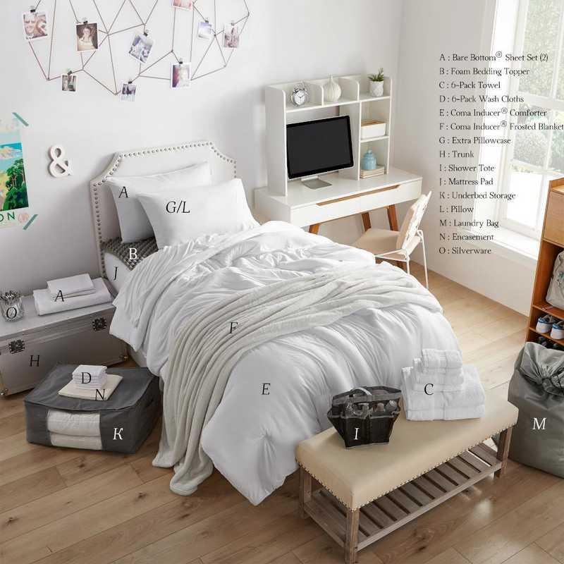 COMPLETE-BB-WHT: TwinXL Ult  Dorm Supplies Lux Pck-TwinXL-Bare Bottom Wht Set