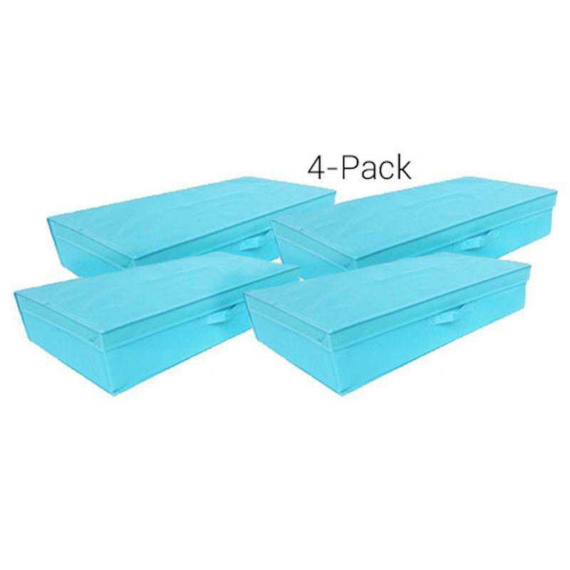 TUSK4FB-AQUA: DormCo TUSK Underbed Dorm Folding Box 4-Pack - Aqua