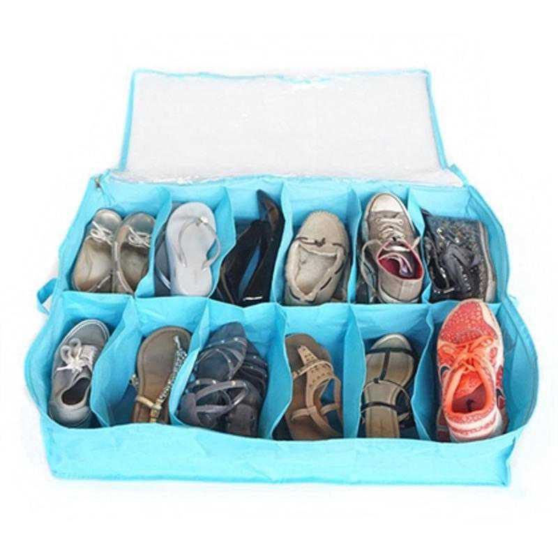 F1-2-4-25410-AQUA: DormCo Underbed Shoe Holder - TUSK College Storage - Aqua