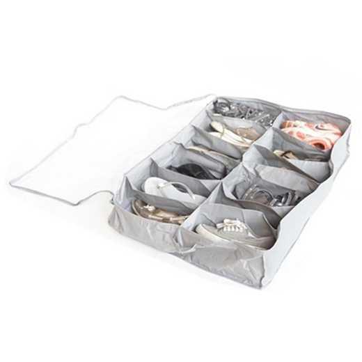 F1-2-4-25410-GRAY: DormCo Underbed Shoe Holder - TUSK College Storage - Gray
