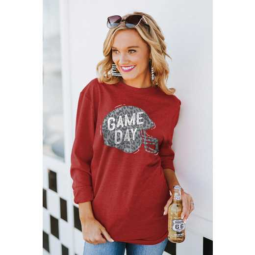 """The """"For the Home Team"""" Game Day Varsity Crew Tee Crimson By Gameday Couture"""