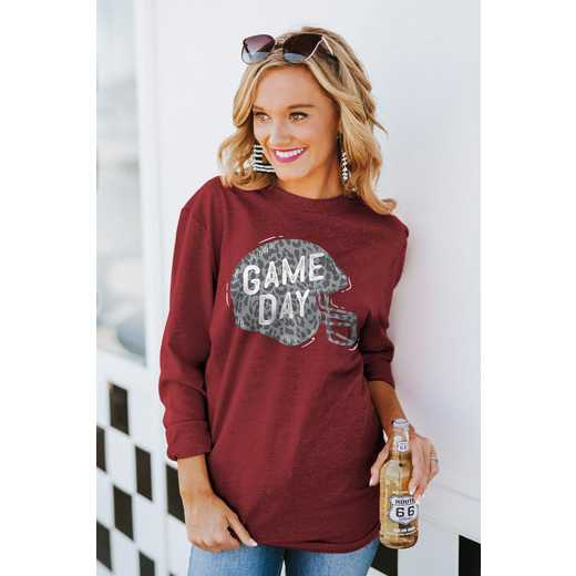 "The ""For the Home Team"" Game Day Varsity Crew Tee Garnet By Gameday Couture"
