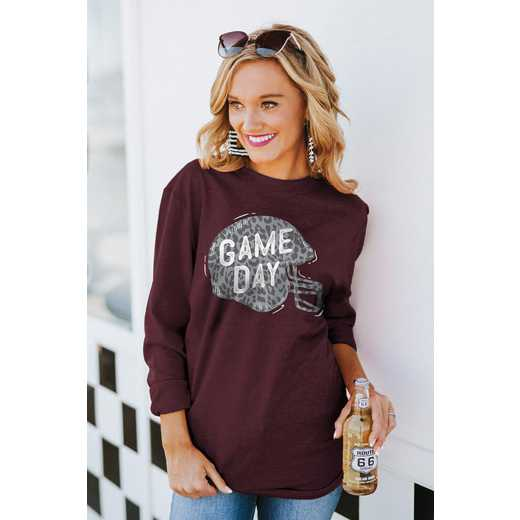 """The """"For the Home Team"""" Game Day Varsity Crew Tee Maroon By Gameday Couture"""