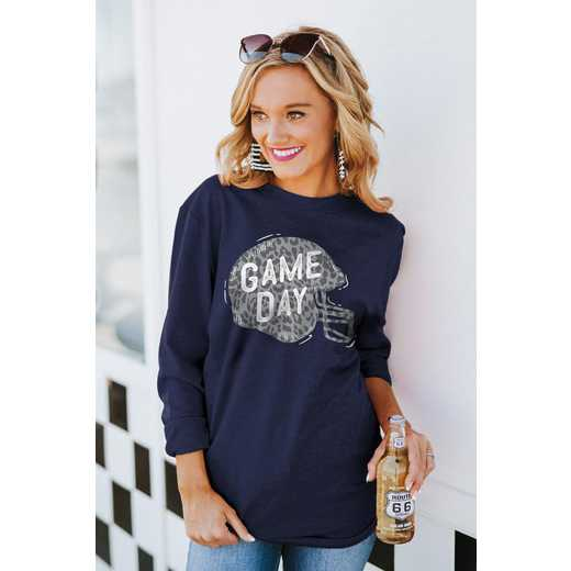 """The """"For the Home Team"""" Game Day Varsity Crew Tee Navy By Gameday Couture"""