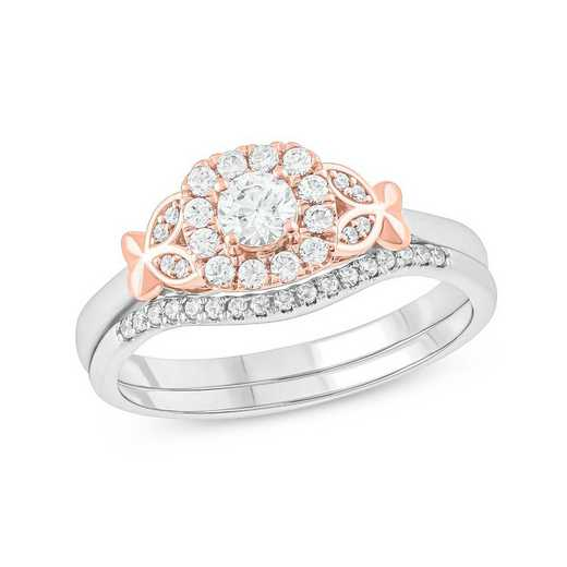 1/2 CT.T.W. Diamond Fashion Ring 10K Rose Gold And 10K White Gold