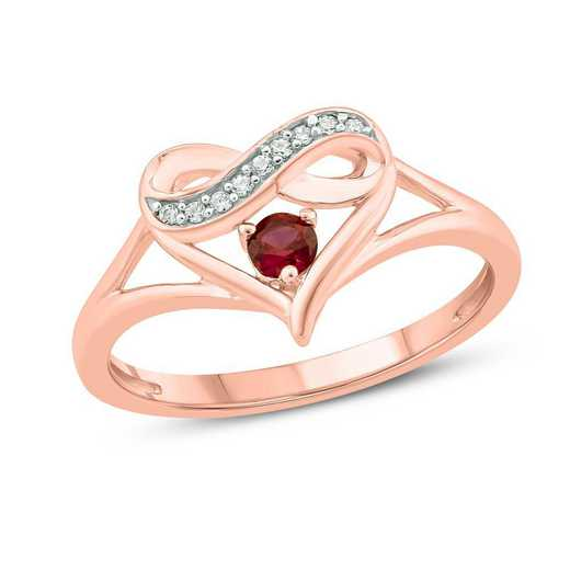 Diamond Accent Heart Ring With Created Ruby In 10K Rose Gold