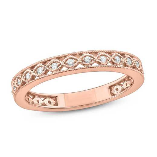 1/10 CT.T.W. Diamond Band Ring In 10K Rose Gold