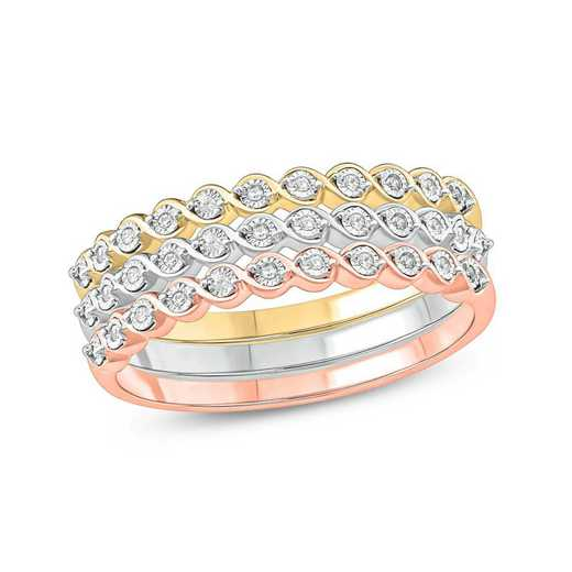 1/10 CT.T.W. Diamond Multiband Ring In White- ellow Gold Plated And Rose Gold Plated Sterling Silver