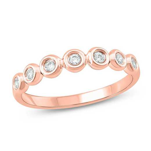 1/8 CT.T.W. Diamond Band Station Ring In 10K Rose Gold