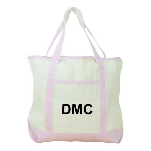 E313639PK: Nat/Pink Canvas Tote Bag