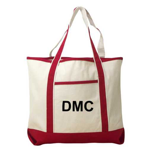E313639RD: Nat/Red Canvas Lg Tote Bag