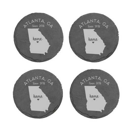 L11062153GAPGS: Home State-PGS Slate Rnd Csters- S/4-GA