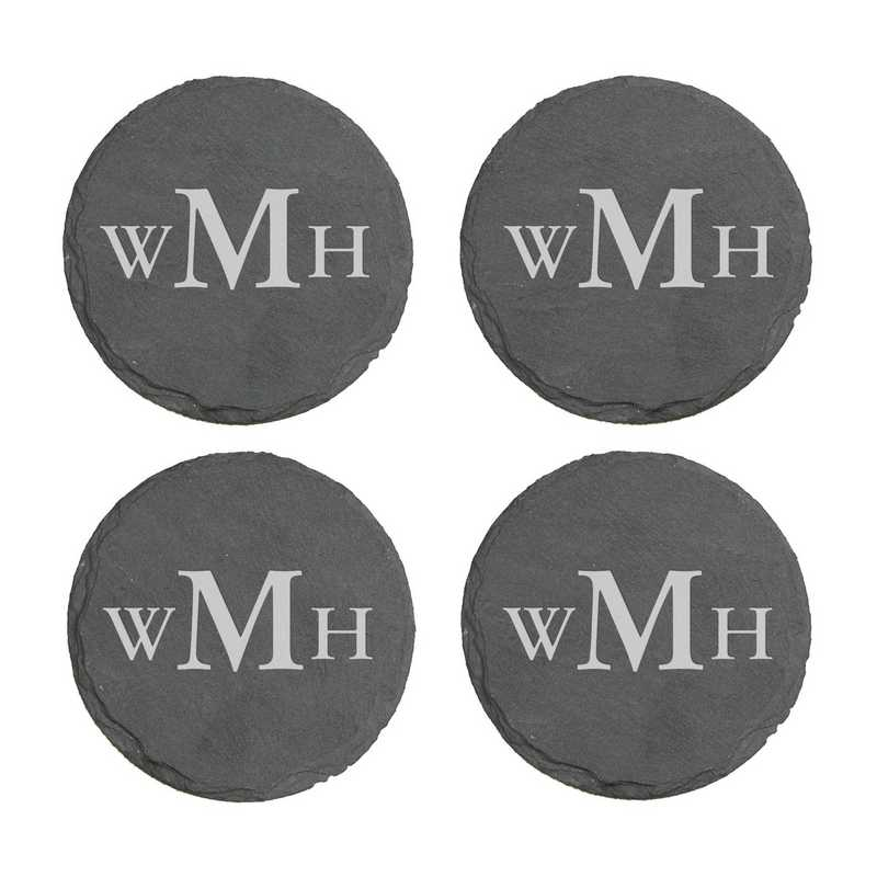 L10281153: Monogram Slate Round Coasters- S/4