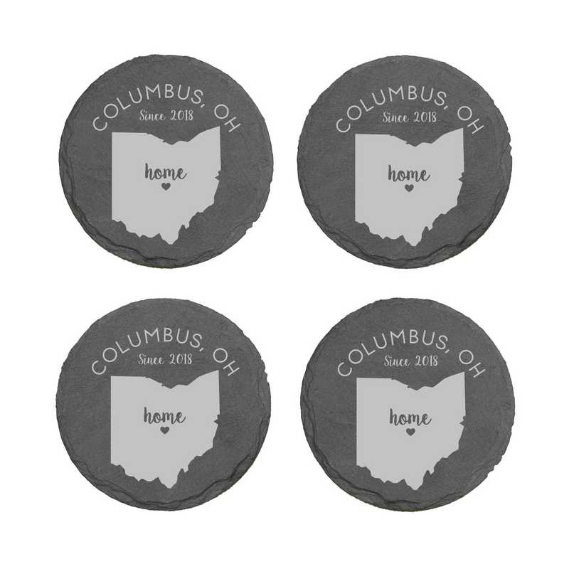 L11062153OHPGS: Home State-PGS Slate Rnd Csters- S/4-OH