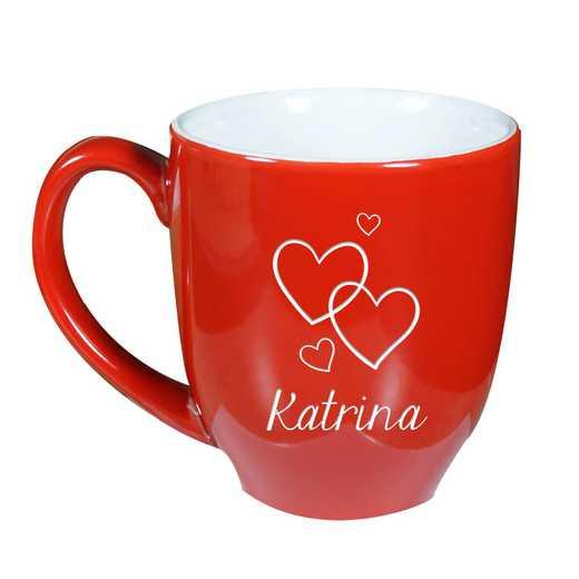 L111018172RD: Bistro Mug - Red Valentine hearts