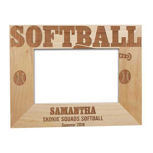 925631: Softball Wooden Picture Frm Alder 4 x 6