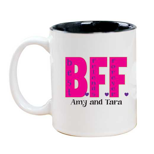 262170MBK: Two Toned BLACK Ceramic Mug BFF