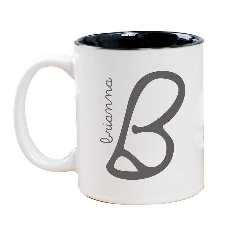 274800MBK: Two Toned BLACK Ceramic Mug Inl/ Name