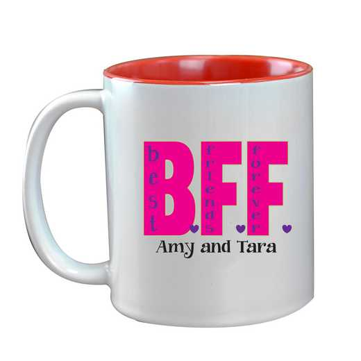 262170MRD: Two Toned RED Ceramic Mug BFF