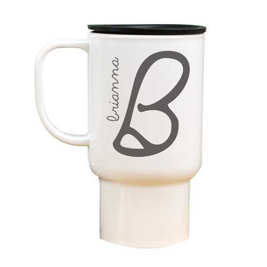 274800MT: White Polymer Travel Mug Initial & Name