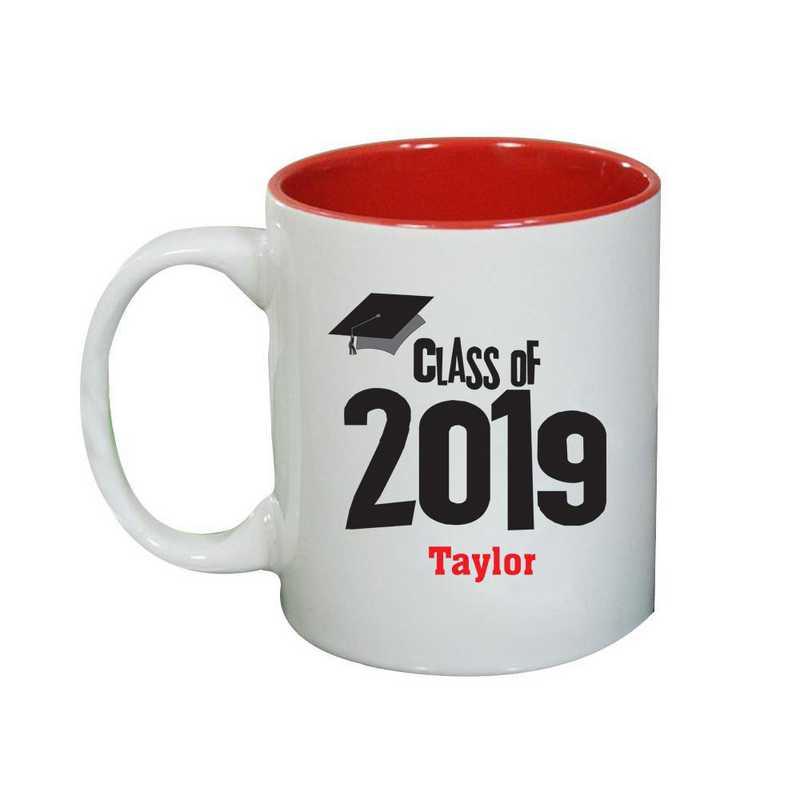 27790MRD: Two Toned RED Ceramic Mug grad cap