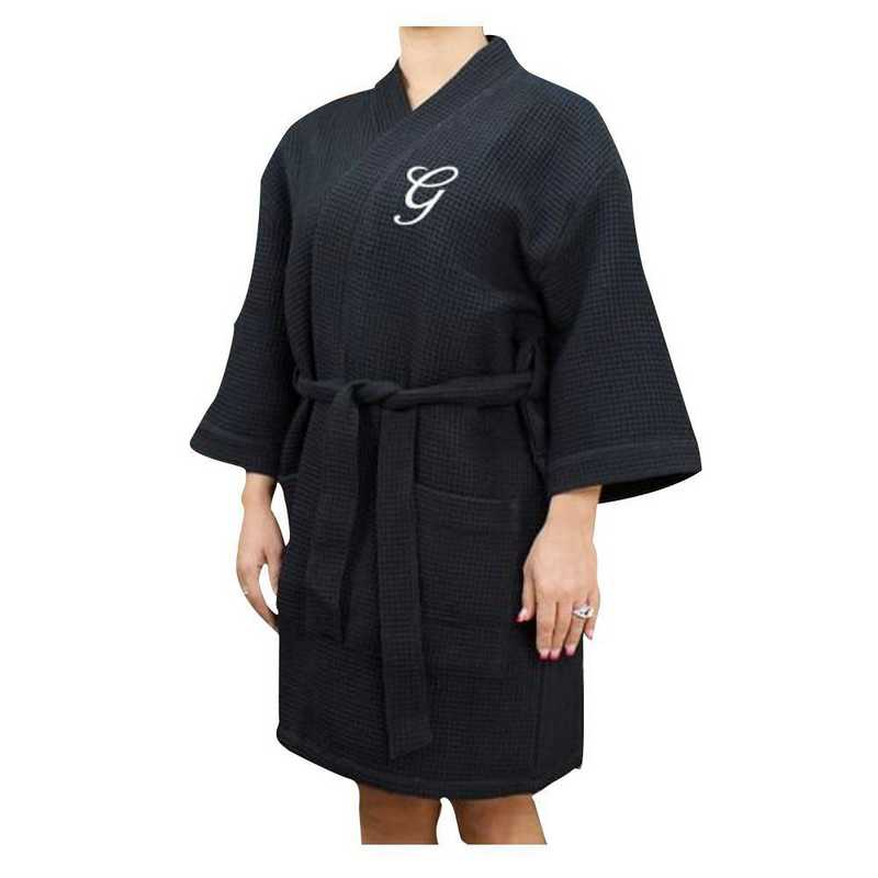 E7633128BKWHS: Embroidered Initial Waffle Weave Robe BLACK
