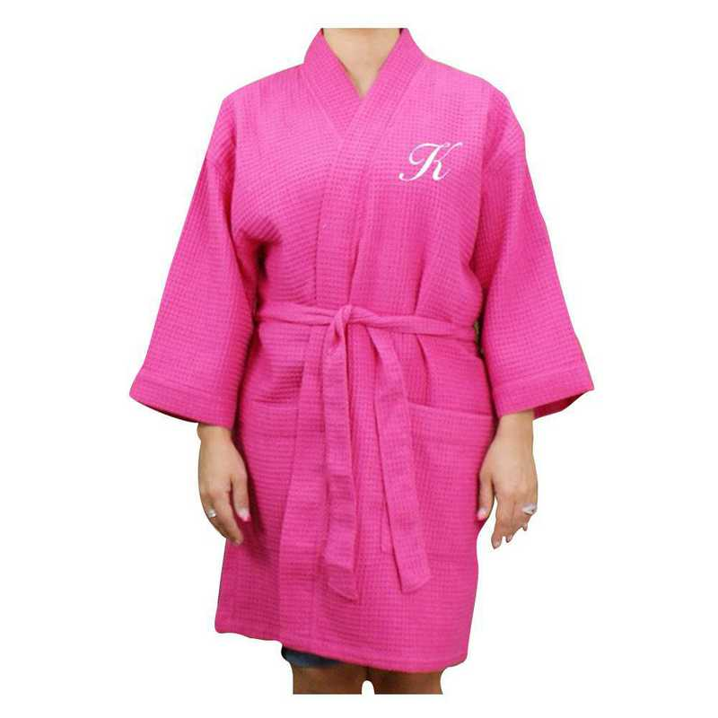 E7633128HPWHS: Embroidered Initial Waffle Weave Robe PINK