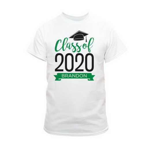 Personalized Graduate Hat With Banner White T-Shirt -Green