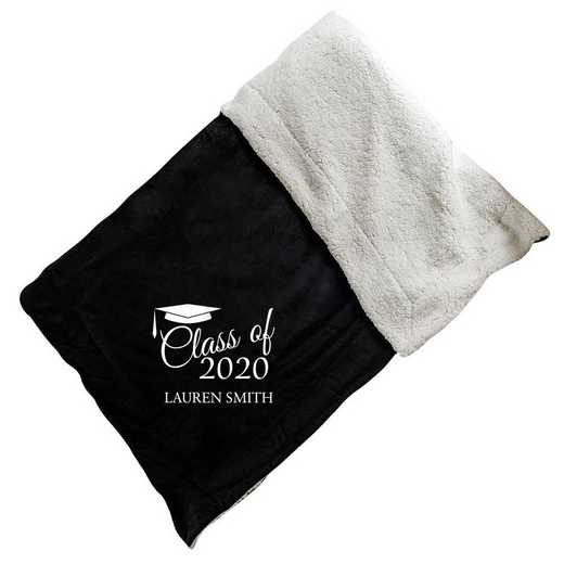 E10805184BK: Black Fleece  Sherpa Blanket 50 x 60