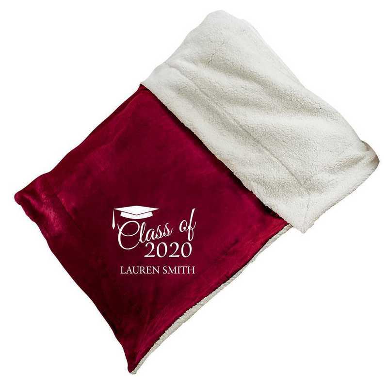 E10805184BUR: Burgundy Fleece  Sherpa Blanket 50 x 60