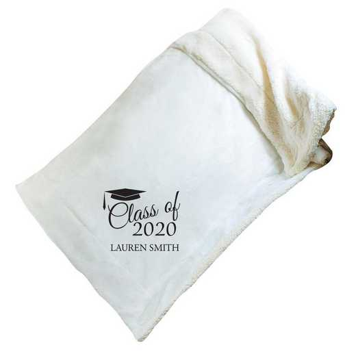E10805184CR: Cream Fleece  Sherpa Blanket 50 x 60