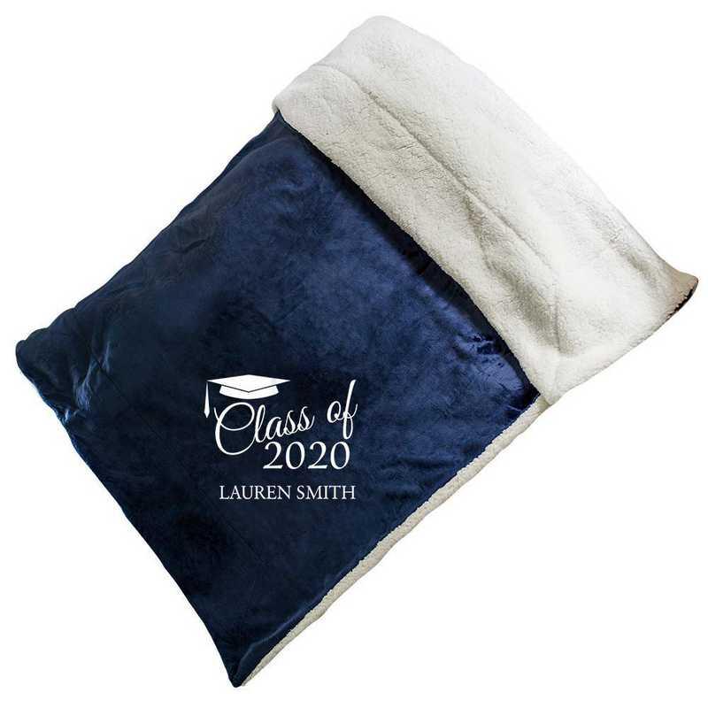 E10805184NV: Navy Fleece  Sherpa Blanket 50 x 60